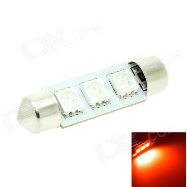 HONSCO Festoon 39mm 1W 30lm 700nm 3-5050 SMD LED Red Light Bulb for Car Dome / License Plate (12V)