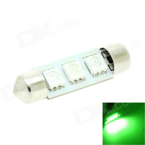 HONSCO Festoon 39mm 1W 30lm 560nm 3-5050 SMD LED Green Light Bulb for Car Dome / License Plate (12V)