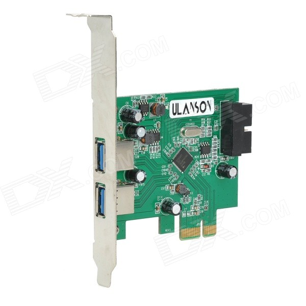 PCI-E External 2-Port USB 3.0 + 19-Pin Internal Expansion Card without Power Supply - Green 5 port usb 2 0 pci expansion card