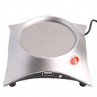 WPL R-678 Mini Coffee / Tea / Cup Warmer / Heater Pad w/ 4-USB Port Hub - Ancient Silver + Black