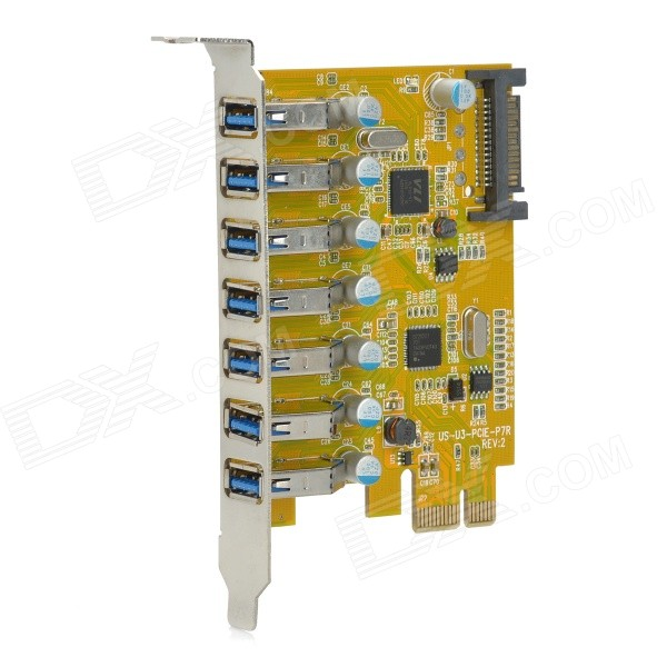 PCI-E External 7-Port USB 3.0 Expansion Card w/ SATA 15-Pin Power Socket - Yellow контроллер pci e sata ide 2 1 port sata raid jmb363 bulk
