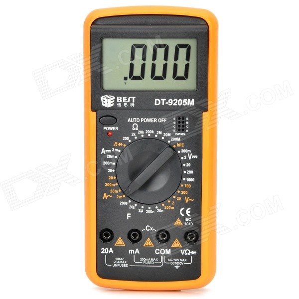 Best DT-9205M 2.7 LCD Digital Multimeter - Black + Orange (1 x 9V) pro skit mt 1210 2 0 lcd digital multimeter blue deep grey 1 x 9v battery