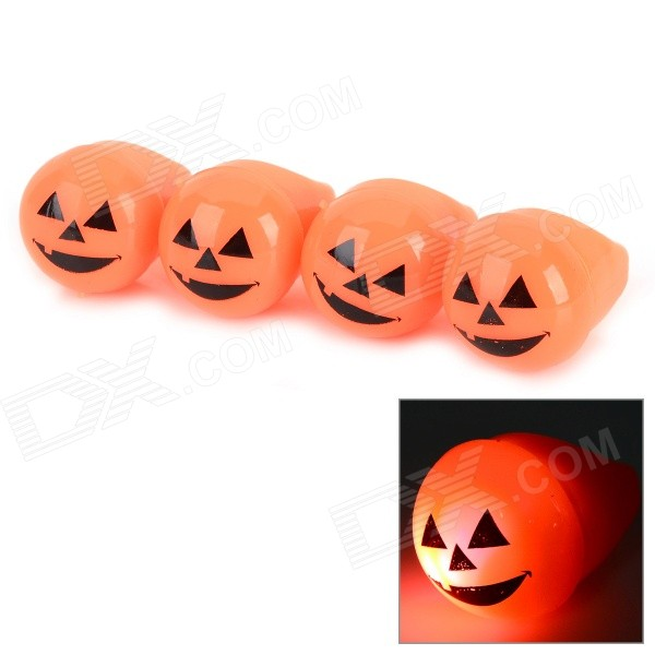 Halloween Pumpkin Smile Style Silicone Rings w/ LED Light - Orange + Black (4 PCS / 3 x LR41)