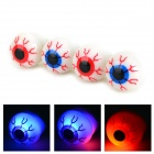 Halloween Eyeball Style 3-LED RGB Decoration Silicone Rings - White + Red + Blue (4 PCS / 3 x LR41)