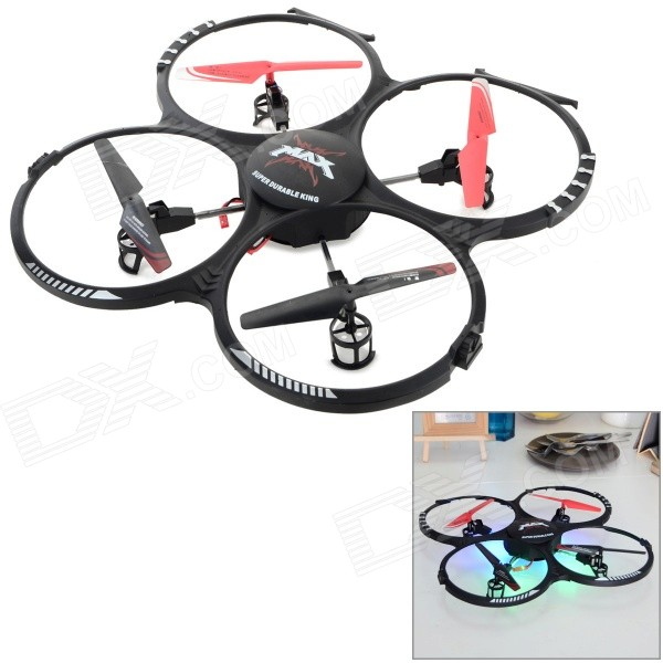RUNQIA 2.4GHz 4-CH Outdoor 6-Axis R/C Quadcopter w/ Lamp / Gyroscope - Black (6 x AA) wltoys wl r4 2 9 lcd 6 axis multi function remote controller for r c toy black 4 x aa