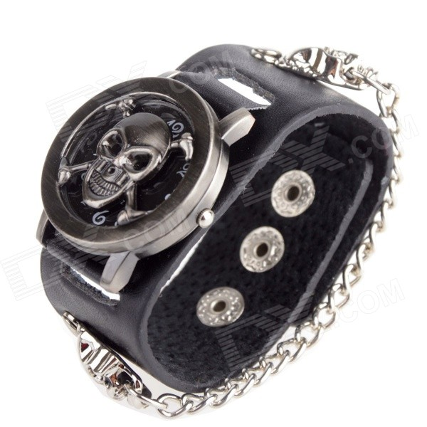 Unisex's Fashion Skull Pattern Zinc Alloy Case PU Band Analog Quartz  Wrist Watch - Black (1 x 377) stylish bracelet zinc alloy band women s quartz analog wrist watch black 1 x 377