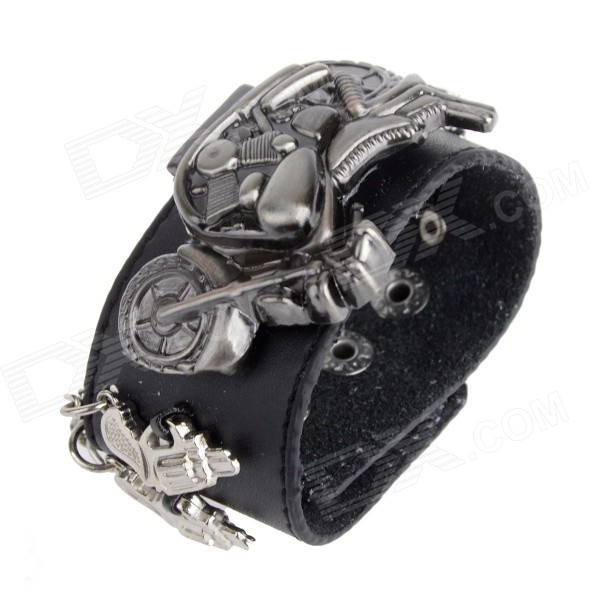 Fashion Motorcycle Style Zinc Alloy Case PU Band Analog Quartz Wrist Watch - Black (1 x 377) fashion lady s zinc alloy band quartz analog rhinestone waterproof wrist watch silver 1 x 377