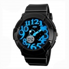SKMEI 1020 Kid's Waterproof Analog + Digital Electronic Wrist Watch -  Black + Blue (1 x CR2016)