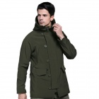 N-116 Men's Outdoor Sports Water Resistant Windproof Polyester + Spandex Jacket - Army Green (M)