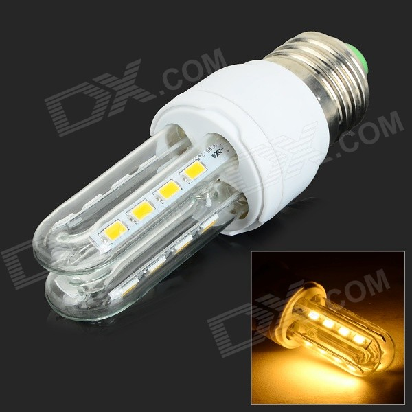JRLED E27 6W 430lm 3300K 16-SMD 5730 LED Warm White Light Lamp - White + Silver (AC 85~265V)