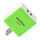 Maxphone MH-M523 Dual-USB AC Power Adapter for IPHONE / Samsung - White + Green (US Plug)