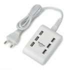 Maxphone MH-M561 6-Port USB AC Power Adapter w/ EU Plug Cable for IPHONE / Samsung - White