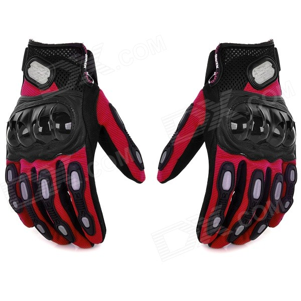 PRO MCS15 Cycling Microfiber + Lycra Full-Finger Gloves - Red + Black (L / Pair) pro biker mcs 04 motorcycle racing half finger protective gloves red black size m pair