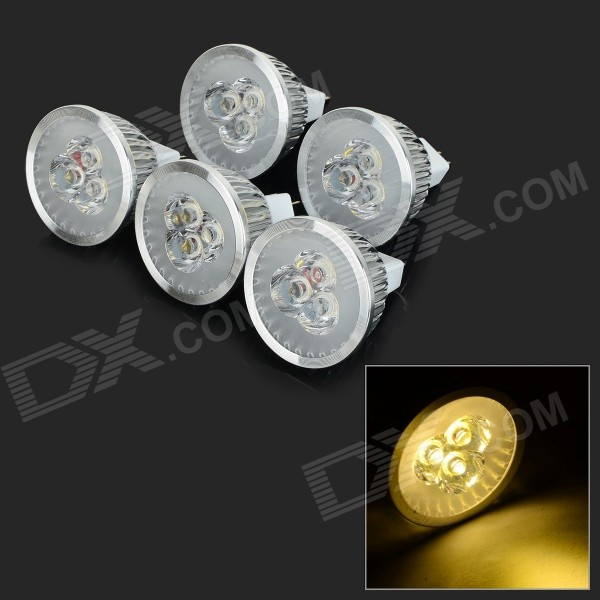 JRLED MR16 3W 270lm 3300K 3-LED Warm White Light Spotlights - Silver (5 PCS / DC 12V)