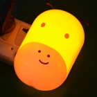 Cute Animal Shaped 2W 30LM Warm White Light Wall Night Lamp w/ Light Control - White + Yellow (220V)