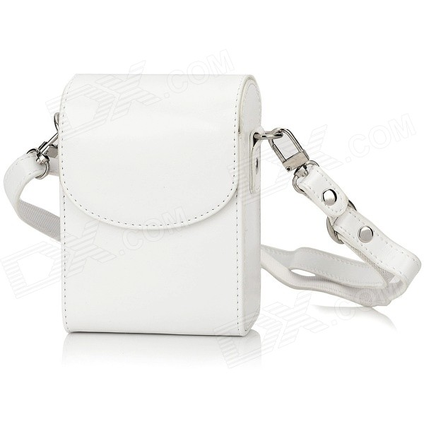 LC-1 Water Resistant PU Bag w/ Strap for Sony / Nikon / Fujifilm / Casio / Olympus - White