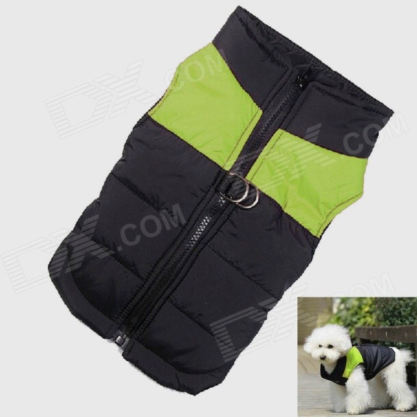 Water-resistant Quilted Padded Warm Winter Coat Jacket for Pet Dog - Black + Green (Size XL)