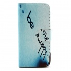 "Be Happy Lettering Flip-open PU Leather Case w/ Stand + Card Slot for IPHONE 6 4.7"" - lIGHT bLUE"
