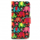 Elephant Pattern PU Leather Full Body Case with Stand and Card Slot for IPHONE 6 4.7""