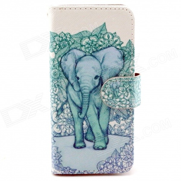 Elephant Pattern PU Leather Full Body Case with Stand and Card Slot for IPHONE 6 4.7 stand leather case for iphone 6 plus 6s plus 5 5 inch with card slot dark blue