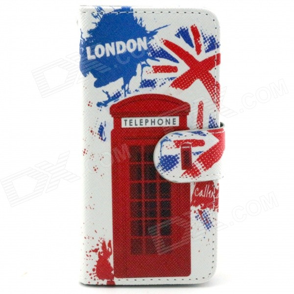 Telephone Booth Pattern PU Leather Full Body Case with Stand and Card Slot for IPHONE 6 4.7 crown pattern pu leather case with stand and card slot for iphone 6 plus red white