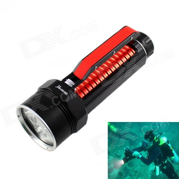 KINFIRE KF600 High Power 2400lm White Dimming Diving 6-LED Flashlight - Black + Red (2 x 26650) самокат двухколесный zilmer zl 97 красный