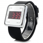 HZ-2010 Men's Casual Silicone Band Digital Red LED Watch - Black + Silver (1 x CR2032)
