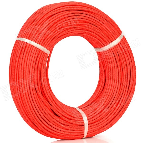 Woven Rubber + Tin-plated Copper Wire High Temperature Cable - Red (100m / 300~500V) 1meter red 1meter black color silicon wire 10awg 12awg 14awg 16 awg flexible silicone wire for rc lipo battery connect cable