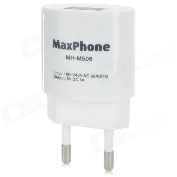 Maxphone MH-M506 ABS EU Plug Power Adapter for IPHONE / Samsung - White (100~240V) - DXAC Chargers<br>Color White Brand Maxphone Model MH-M506 Material ABS Quantity 1 Piece Compatible Models IPHONE Samsung and so on. Input Voltage 100~240 V Output Current 1 A Output Voltage 5 V Plug Specifications EU Plug (2-Round-Pin Plug) Packing List 1 x EU plug power adapter (100~240V)<br>