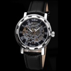 Hollow Engraving PU Band Analog Semi-Mechanical Wrist Watch - Black (Assorted Dial Colors)