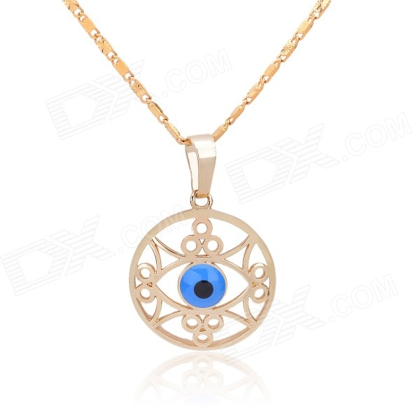 KCCHSTAR Stylish Angel Eye Style Copper + 24K Gold Plated Pendant Necklace - Golden + Blue kcchstar the eye of god high quality 316 titanium steel necklaces golden blue