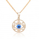 KCCHSTAR Stylish Angel Eye Style Copper + 24K Gold Plated Pendant Necklace - Golden + Blue