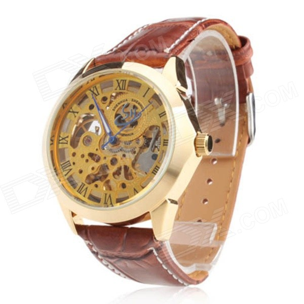 SH Y204 Men's Stylish PU Band Analog Automatic Mechanical Wrist Watch - Gold + Brown