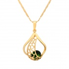KCCHSTAR Women's Artificial Jade Studded Copper + 24K Gold Plated Pendant Necklace - Golden + Green
