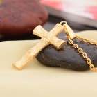 KCCHSTAR Cross Style Copper + 24K Gold Plated Pendant Necklace - Golden