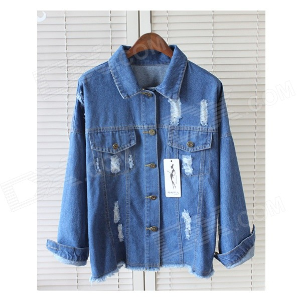 Fashion Women's Denim Jacket Coat - Blue