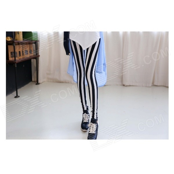 Elastic Vertical Stripes Slim Long Pants for Women - White + Black