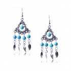 eQute Vintage Elegant Turquoise Ball Style Tassels Earrings - Blue + Silver (Pair)