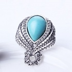 eQute Euramerican Stylish Artificial Turquoise Inlaid Ringent Ring - Blue + Silver