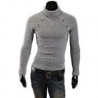 MJ14 Men's Fashionable Slim Fit Winter Warm Cotton Blend Turtleneck Sweater - Grey (XL)
