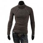 MJ14 Men's Fashionable Slim Fit Winter Warm Cotton Blend Turtleneck Sweater - Brown (L)
