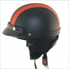 Carking XT02 Motorcycle PU Leather Helmet - Black + Red (M)