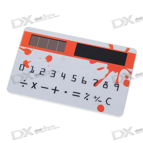 "Solar Powered 1.5"" LCD Ultra-Thin Pocket Card Calculator (White)"