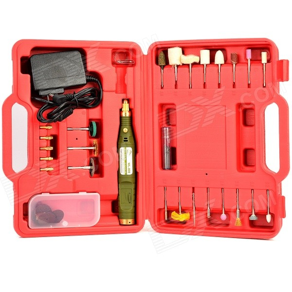WLXY WL-8045 DIY Electric Drill Handle + Bit + Grinding / Polishing Tool Set - Red + Multicolored tx 10pcs tungsten carbide drill bit tool set for metal 0 8mm cnc circuit board engraving instruments mini pcb drill bits kit