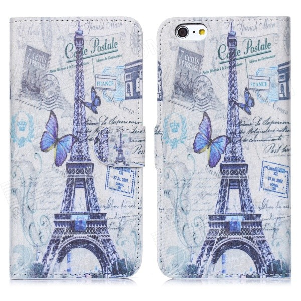 Hat-Prince Eiffel Tower Pattern Flip-Open PU + Plastic Case w/ Stand / Card Slots for IPHONE 6 PLUS hat prince flower pattern flip open pu case w stand card slots auto sleep for ipad air 2