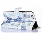 Hat-Prince Eiffel Tower Pattern Flip-Open PU + Plastic Case w/ Stand / Card Slots for IPHONE 6 PLUS