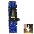 OUMILY Outdoor Survival Paracord Bracelet w/ Flint Fire Starter Scraper + Whistle - Blue