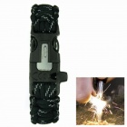 OUMILY Outdoor Survival Paracord Bracelet w/ Flint Fire Scraper + Whistle - Black (4m)