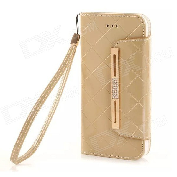 Fashionable Purse Style PU + TPU Full Body Case w/ Card for IPHONE 6 4.7 - Golden metal chain handbag style pu tpu full body case w card slot for iphone 6 4 7 gold