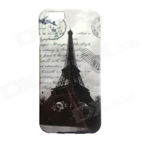 Eiffel Tower Patterned Protective Soft TPU Back Case Cover for IPHONE 6 4.7 - Black + Grey mercury goospery flash powder gel tpu case cover for iphone se 5s 5 cyan